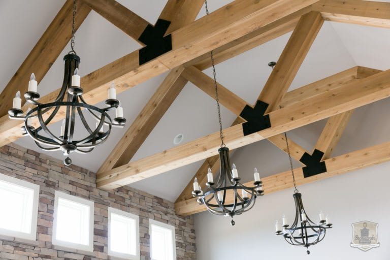 Picture of cedar beams in great room of a Stonecroft Home