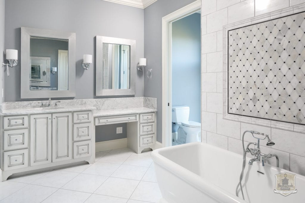 Image of White custom bath carrara marble