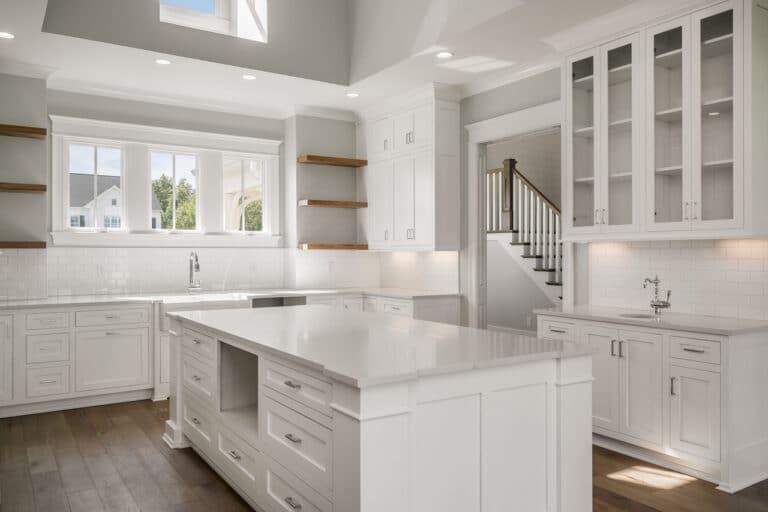 White farm house kitchen floating shelves